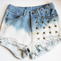 Gradient Studded High Waist Shorts
