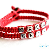 Freak and Geek Handmade Hemp Bracelets for Couples or Best Friends, Red Macrame Hemp Jewelry, Hand Knotted, Funny Gift