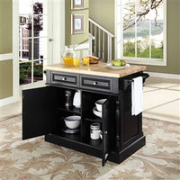 Butcher Block/Cutting Board Top Kitchen Island in Black Finish