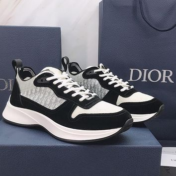 Dior CD new breathable mesh casual sports shoes fashion ladies stitching flat shoes