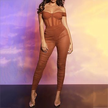 fhotwinter19 Women's hot sale sexy see-through mesh pleated trousers two-piece suit