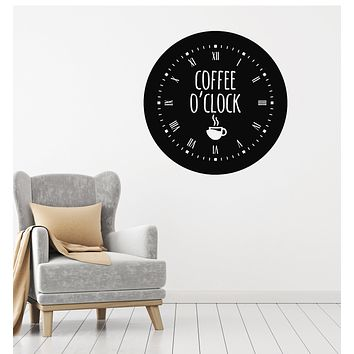 Vinyl Wall Decal Coffee Time House Clock Good Morning Break Room Stickers Mural (g3015)