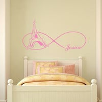 Infinity Symbol Wall Decals Eiffel Tower Vinyl Stickers Paris Bedroom Personalized Name Decal Home Bedroom Decor Nursery T150