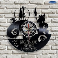 The Nightmare Before Christmas Movie Love Story Vinyl Record Wall Clock - Decorate your home with Modern Large Jack and Sally Di