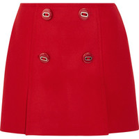 Prada - Button-embellished wool mini skirt