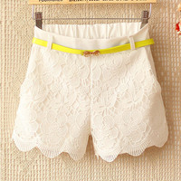A 082203 n Candy -Colored Crochet Stitching Waist Straight Casual Shorts