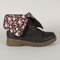 Gwen-03HI Cuff Round Toe Military Lace Up Boot