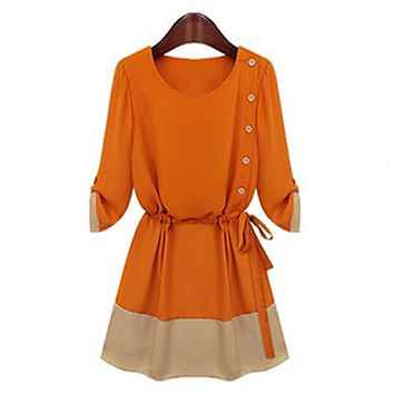 Women's Tie-side Chiffon Dress with Buttons