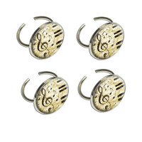 Vintage Piano with Treble Clef and Music Notes Napkin Ring Set