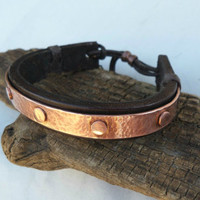 Leather and Copper Bracelet, Men's Leather and Copper Bracelet, Mens Leather Bracelet, Mens Copper Bracelet