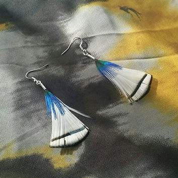 White Feathers with Blue Peacock Feather Earrings -Feather Earrings