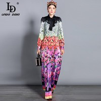 LD LINDA DELLA 2018 New Fashion Runway Maxi Dresses Women's Long Sleeve Bow Collar Vintage Floral Printed Vacation Long Dress