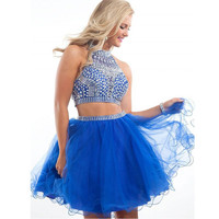 Royal blue Short 2017 Homecoming Dresses with Rhinestones Tulle A line Mini Two pieces Prom party gown Graduation Dress