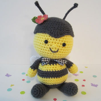 Stuffed Bumble Bee Plush, Crochet Bee, Toy Bumble Bee, Amigurumi Bee by CROriginals
