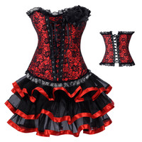 Black And Red Lace Ruffled Trim Corset And Petticoat Skirt
