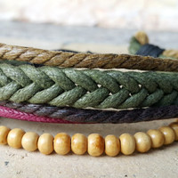 FREE SHIPPING-Men, Woman Bracelet, Multi Color and Strands. Handmade handknotted Hemp Style Country Jewelry, Unisex. 528