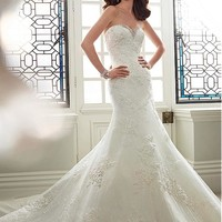 [245.99] Marvelous Tulle Sweetheart Neckline Mermaid Wedding Dresses with Beaded Lace Appliques - Dressilyme.com