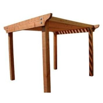 Mendocino, Redwood 8 ft. x 8 ft. Construction Heart Notched Pergola Kit with 3 in. x 12 in. Header Rails, 16712 at The Home Depot - Mobile
