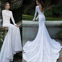 Women's Lace Sexy Backless Maxi Fishtail Dress Women Asymmetric Prom Evening Dress = 1745560580