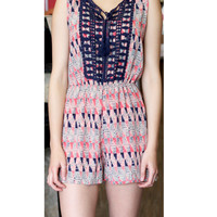 Tribal Print Romper with crochet detail