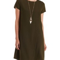 Olive Asymmetrical Wrap Shift Dress by Charlotte Russe