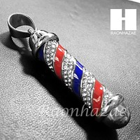 Mens 316L Stainless steel Silver Barber Shop Pole Pendant SS014