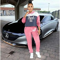 PINK Victoria's Secret Casual Print Hoodie Top Sweater Pants Trousers Set Two-piece