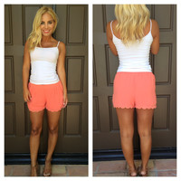 Short And Sweet Scallop Shorts - CORAL