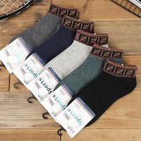 FENDI Popular Men Breathable Sport Cotton Socks