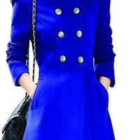 Ideal4dress Casual Wool Blends Slim Fit Double Breasted Long Sleeve Winter Coat