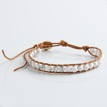 1 Strands Leather Natural White Turquoise 6mm Beads Bracelet for Women and Men Handmade Friendship Bracelets Gift Jewelry