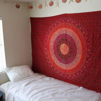 WALL MANDALA Hippy Yoga meditation Mandala Tapestry Wall Hanging Throw Cotton Twin Bedspread Beach Spread Bed Spread Picnic Spread