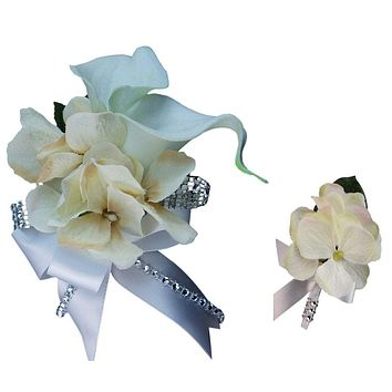 Wrist Corsage and Boutonniere Set White and Ivory Calla Lily and Hydrangea (BCSET-24)