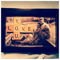 Scrabble Tile 'Love You' frame- wall decor, Valentines Day, anniversary gift, gift for mom, gift for wife
