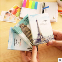 Creative Famous Buildings Hard Cover Mini Notebook Episode Diary Book dual Memo Pad Sticky Notes with Ballpoint Pen