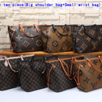 """LV"" Louis Vuitton Women's fashion temperament wild print zipper shoulder bag shopping bag"