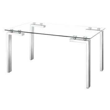 Roca Dining Table Glass and Polished Stainless Steel