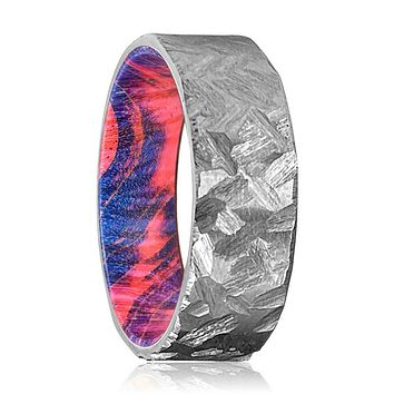 CREST Silver Hammered Titanium Ring with Blue and Red Box Elder Wood Ring