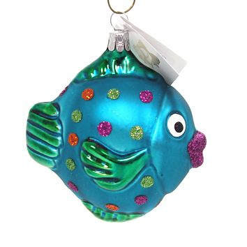 Golden Bell Collection TROPICAL FISH Glass Christmas Ornament An489