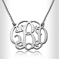 """Personalized Silver 1.0"""" Gold Monogram Necklace Custom Made Initials Monogrammed Necklace  Monogram Name Jewelry,nameplate,name plate"""