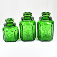Wheaton NJ Glass Sunflower Emerald Green Canister Set