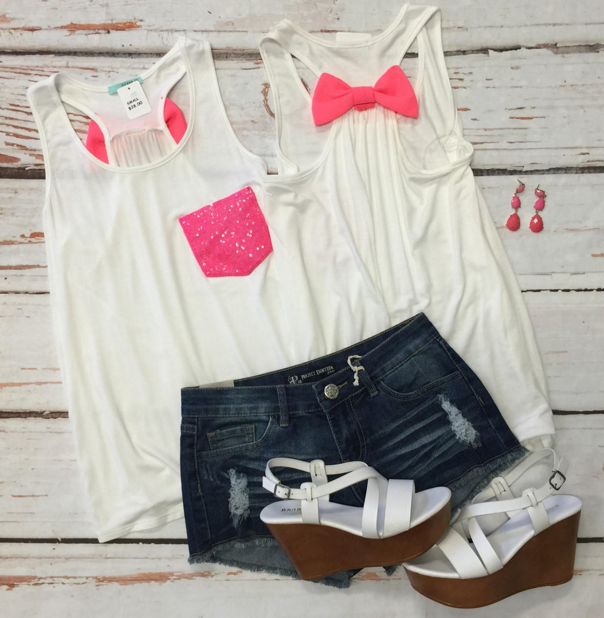 Image of Sequin Bow Back Tank: Hot Pink