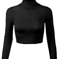 Lightweight Fitted Long Sleeve Turtleneck Crop Top =