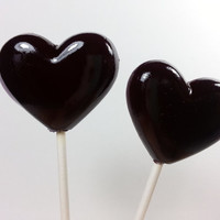 Heart Lollipops, Black Wedding Favor, Black Heart, Goth Wedding, Halloween Favors, Lollipops, Sweet Caroline Confections- SIX LOLLIPOPS