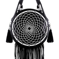 Gothic Black Dream Catcher Dreamcatcher Boho purse with fringe and tessels