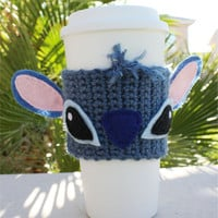 Stitch -ish Inspired Coffee Travel Mug Cup Cozy:  Disney-ish Eco - Friendly Lilo & Stitch -ish Crochet Knit Sleeve