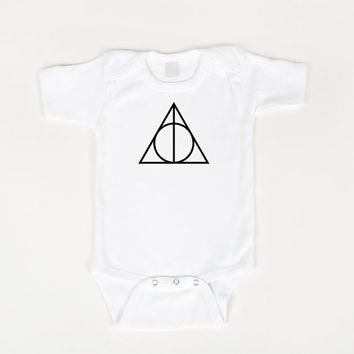 Harry Potter Onesuit Deathly Hallows by geeklingdesigns on Etsy