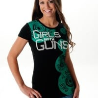 Shell Collage Tee Black w/Emerald | Girls with Guns Clothing