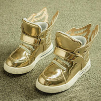 New arrival children shoes girls boys shoes cool wings high top sneakers kids fashion casual pu leather sneakers boys girl shoes