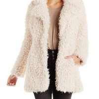 Ivory Shaggy Faux Fur Coat by Charlotte Russe